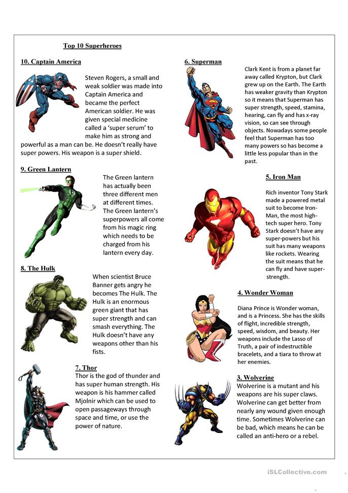 Worksheets Superhero Teacher Worksheets 25 free esl superheroes worksheets top 10 superheroes