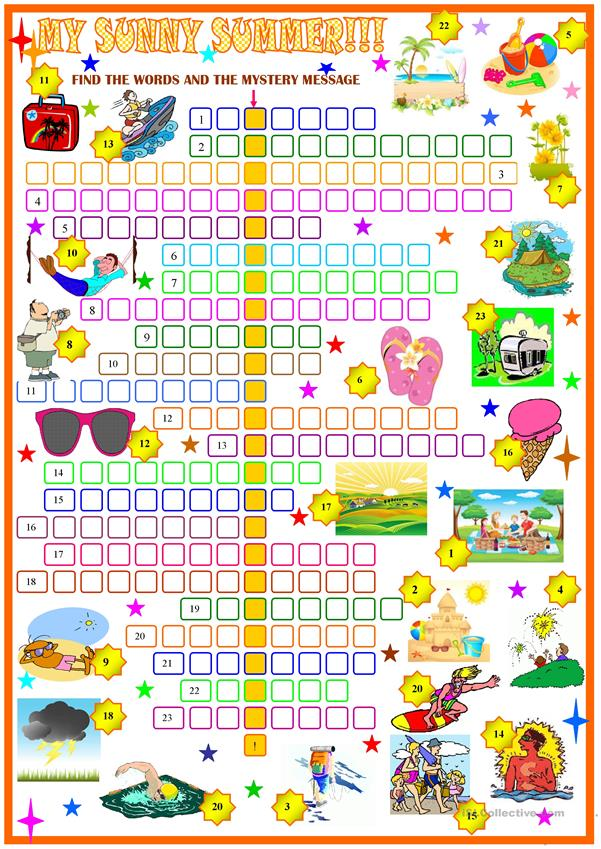 picture about Summer Crossword Puzzle Printable referred to as summertime crossword puzzle - English ESL Worksheets