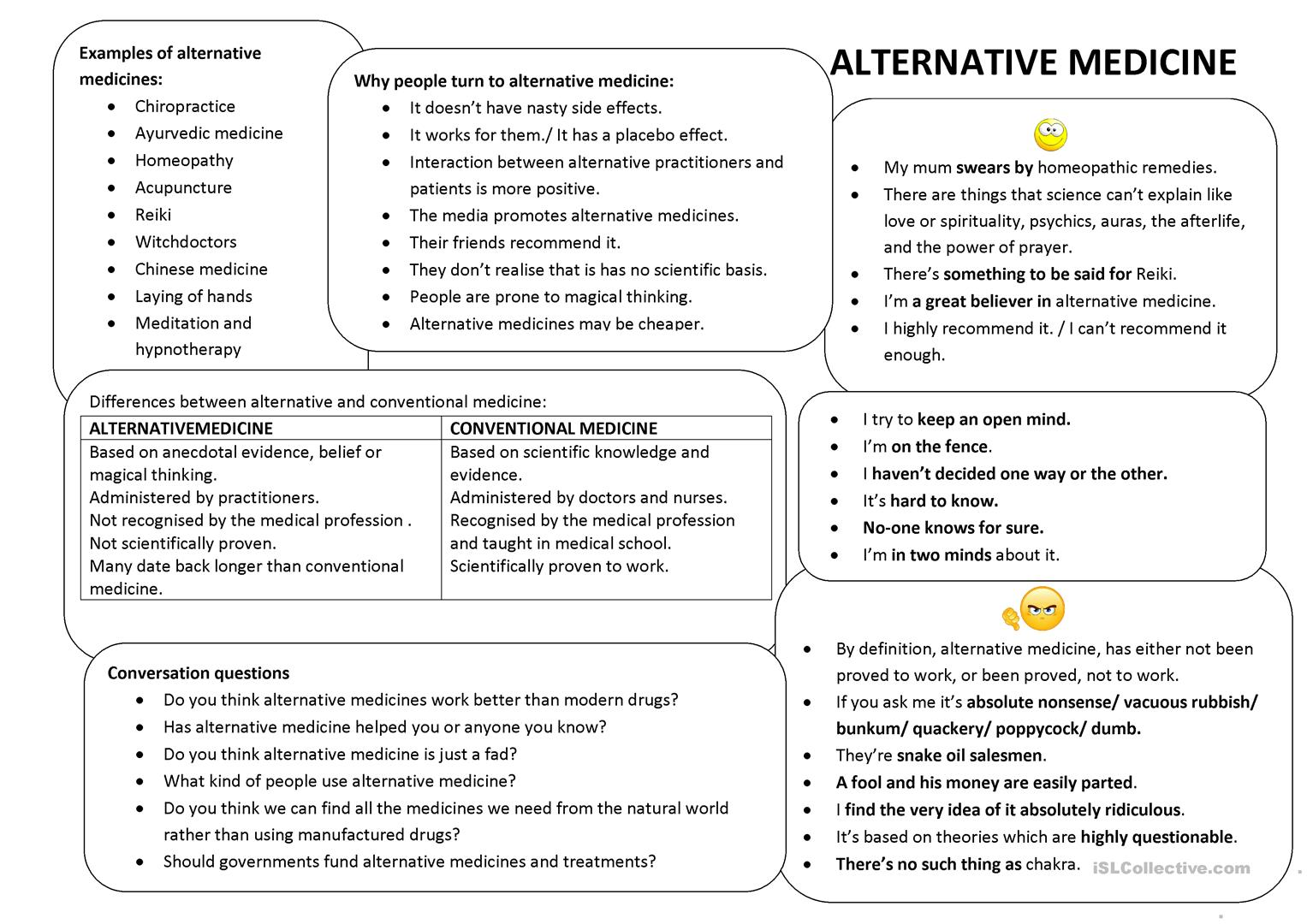 alternative medicine conversation class worksheet - free esl