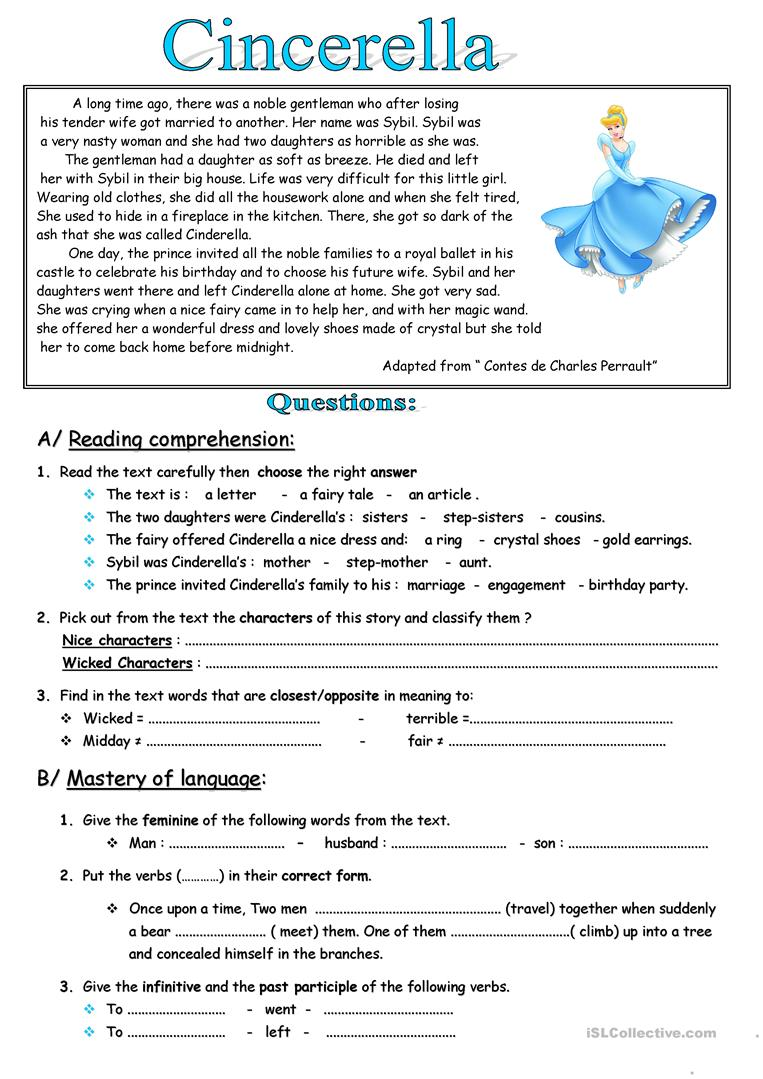 77 free esl fables worksheets cinderella by adis73 its a fairy tale reading comprehension robcynllc Image collections