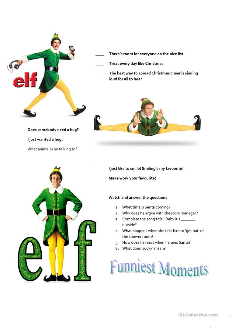 Elf the movie - English ESL Worksheets