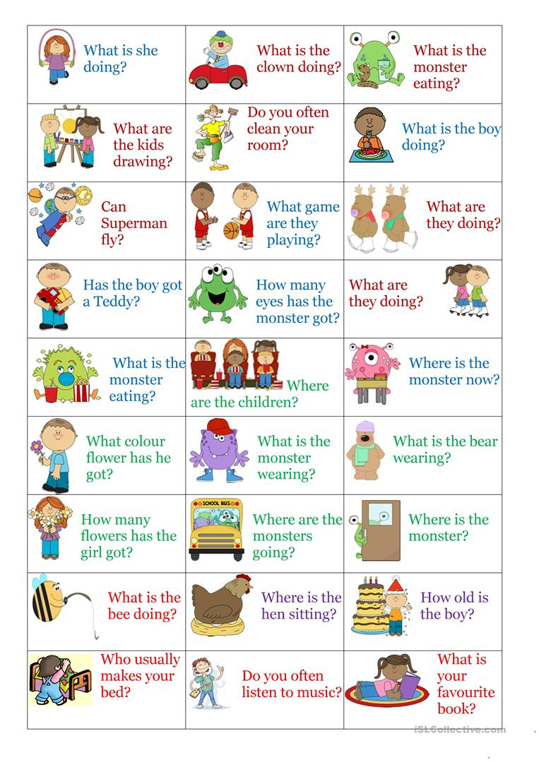 Present Simple u0026 Continuous question cards worksheet ...