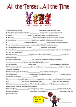 4 FREE ESL all verb tenses review worksheets