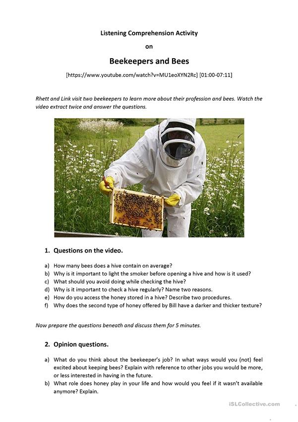Beekeepers and Bees - Listening Comprehension + Speaking (B2)