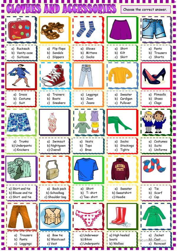 clothes :multiple choice activity 2 bis