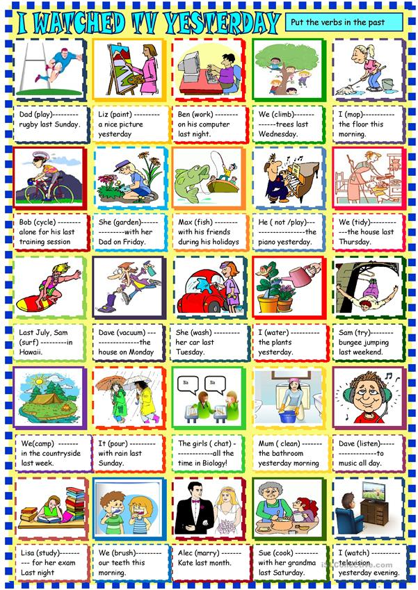 I watched TV yesterday: past simple regular verbs for young learners