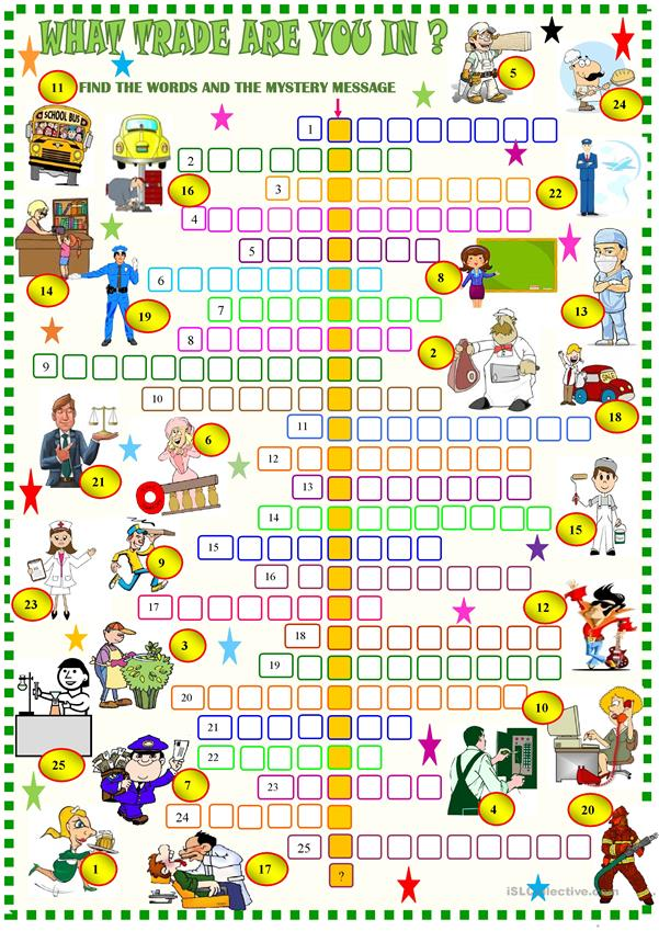 What trade are you in ? jobs / crosswords with key