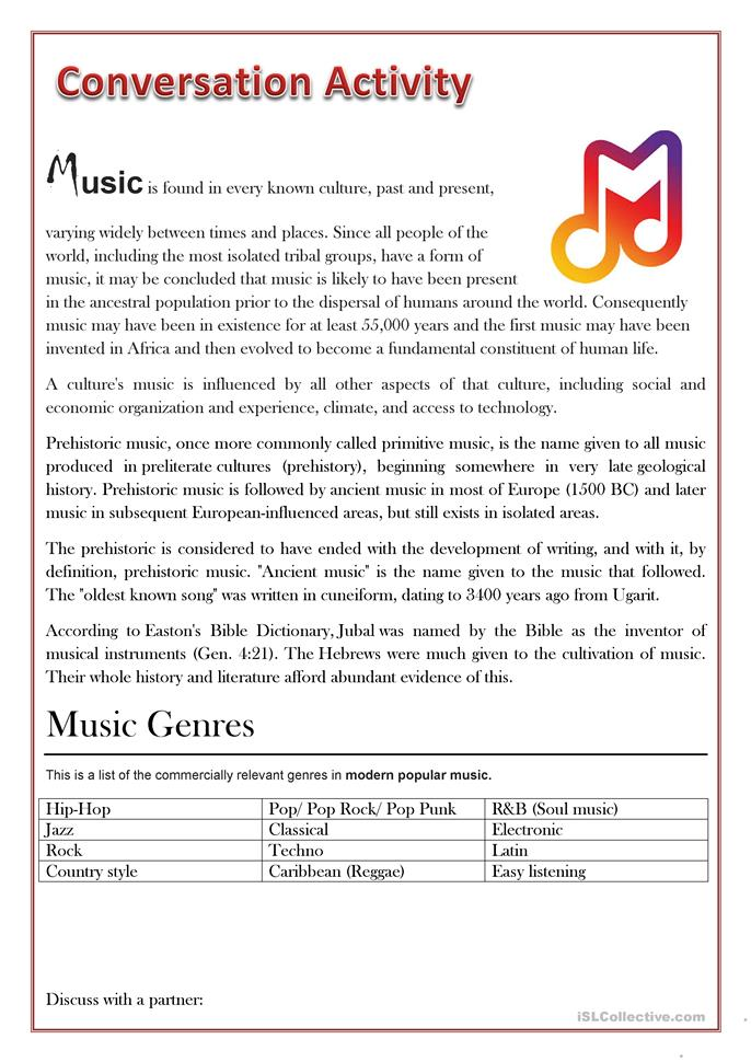 Esl Worksheets For Adults : Conversation activity music worksheet free esl