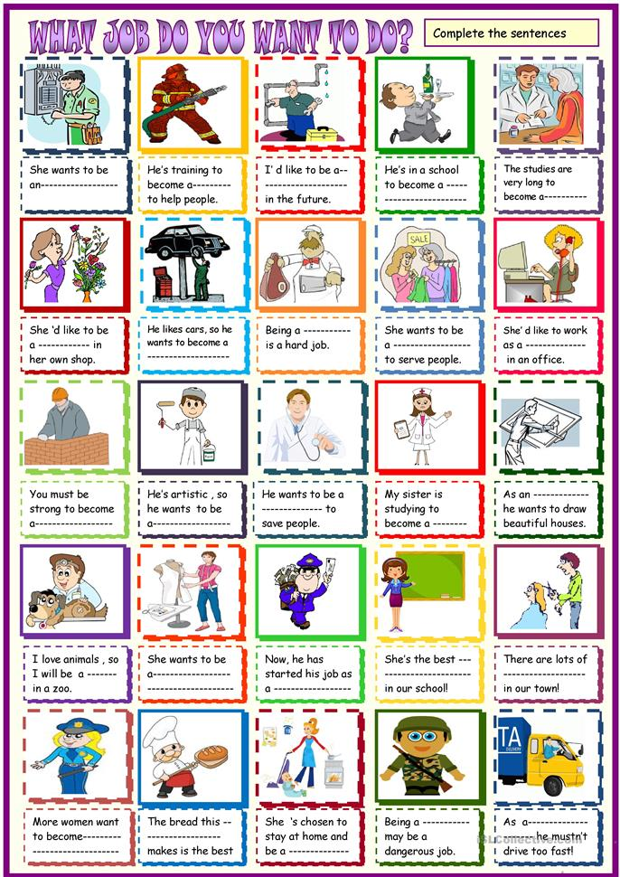 Jobs : what job do you want to do? worksheet - Free ESL ...
