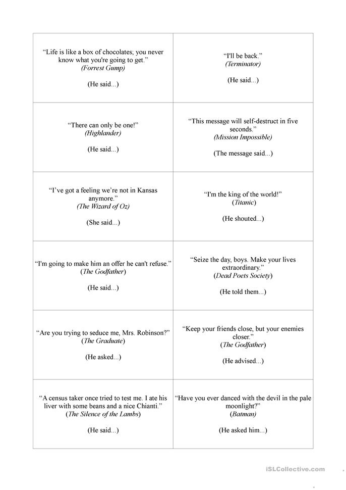 movie quotes reported speech worksheet free esl printable worksheets made by teachers. Black Bedroom Furniture Sets. Home Design Ideas