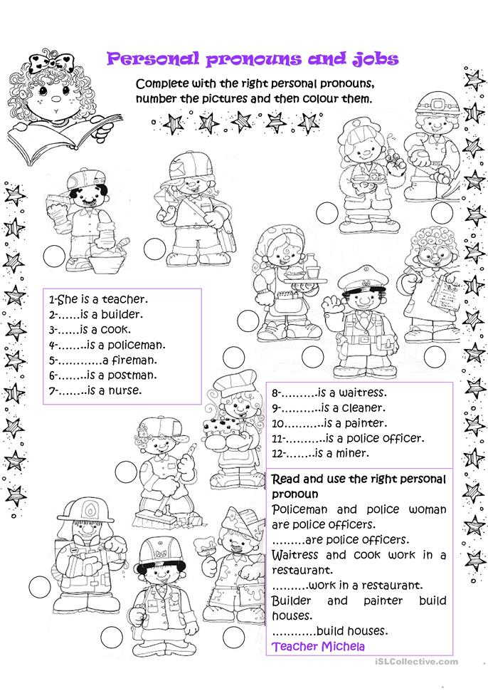 Printable Special Needs Worksheets : Personal pronouns and jobs worksheet free esl printable
