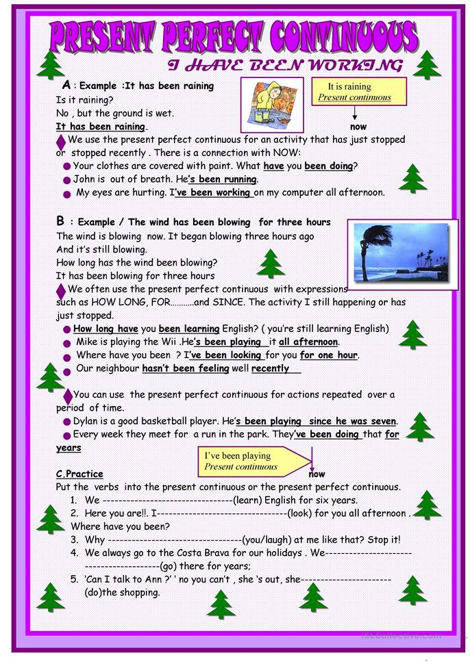 present perfect continuous grammar guide worksheet free esl printable worksheets made by teachers. Black Bedroom Furniture Sets. Home Design Ideas