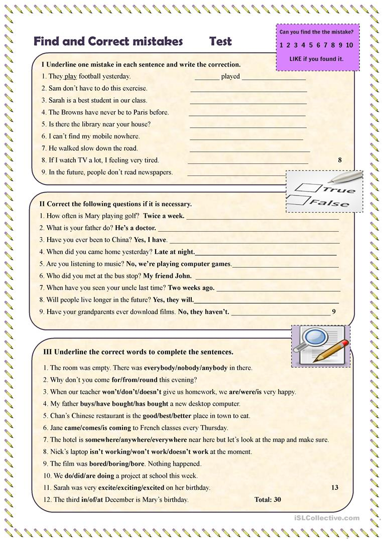 find and correct mistakes test worksheet free esl printable worksheets made by teachers. Black Bedroom Furniture Sets. Home Design Ideas