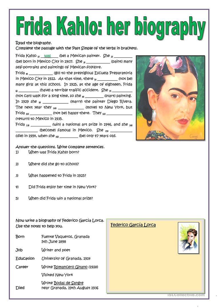 Worksheets Frida Kahlo Worksheets frida kahlo her biography worksheet free esl printable worksheets full screen
