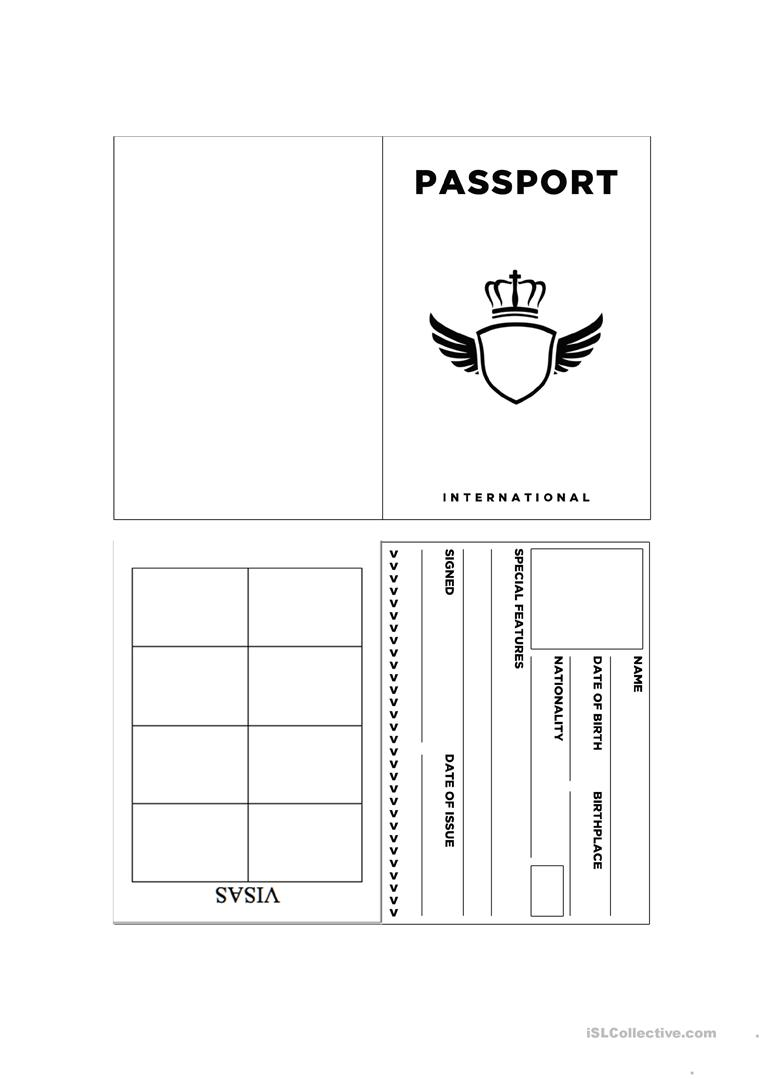 Passport template worksheet free esl printable for Passport photo print template