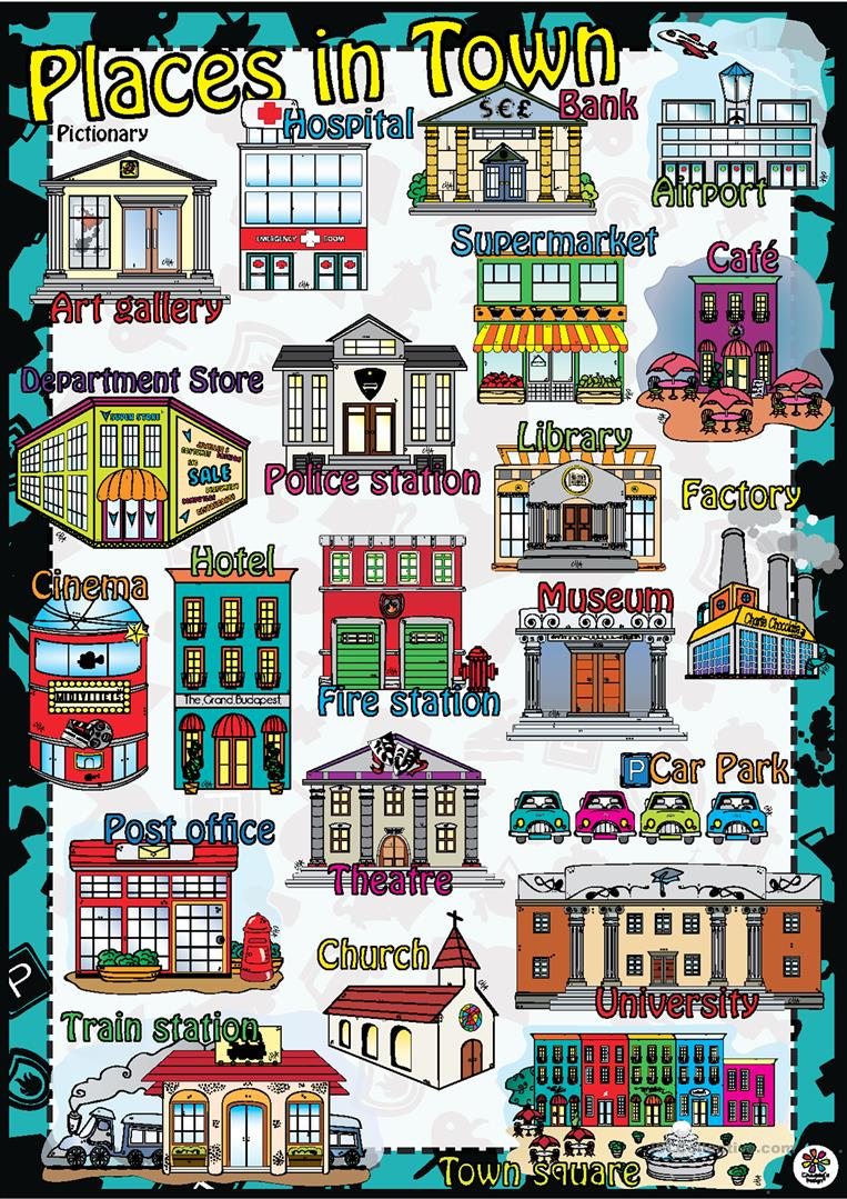 places in town poster worksheet free esl printable worksheets made by teachers. Black Bedroom Furniture Sets. Home Design Ideas
