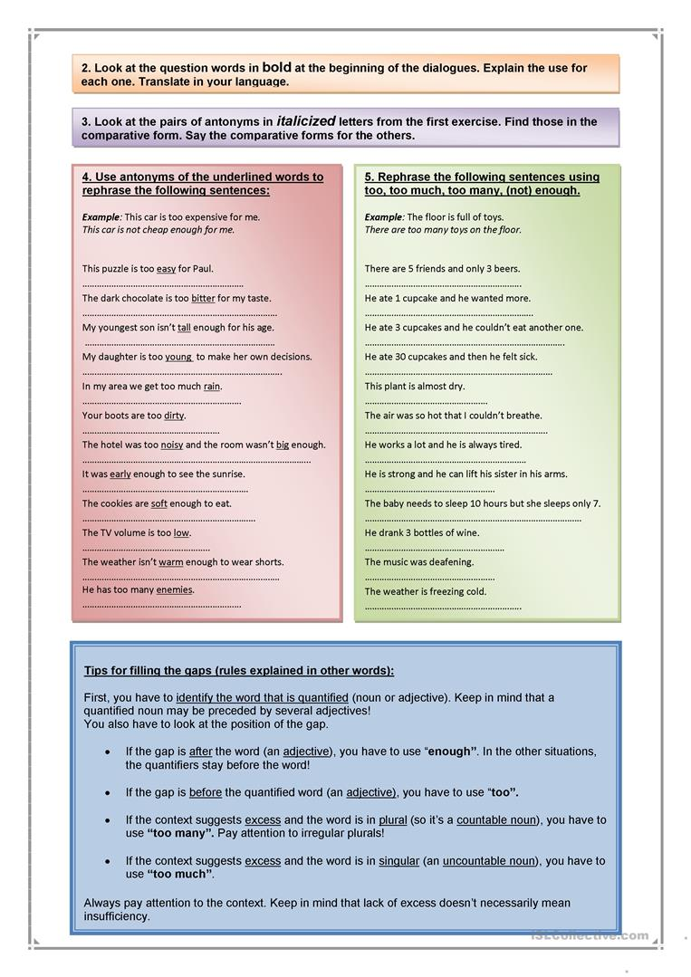 too too much too many not enough worksheet free esl printable