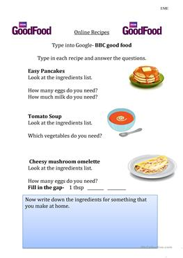 10 free esl food recipes worksheets recipes using online resources forumfinder Choice Image