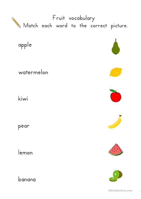Fruit matching worksheets for young learners
