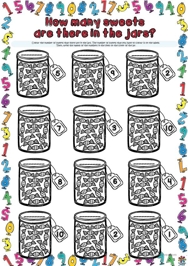 How many sweets are there in the jars? WORKSHEET