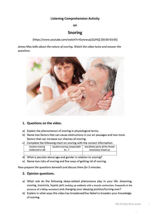 Snoring - Listening Comprehension + Speaking (B2)