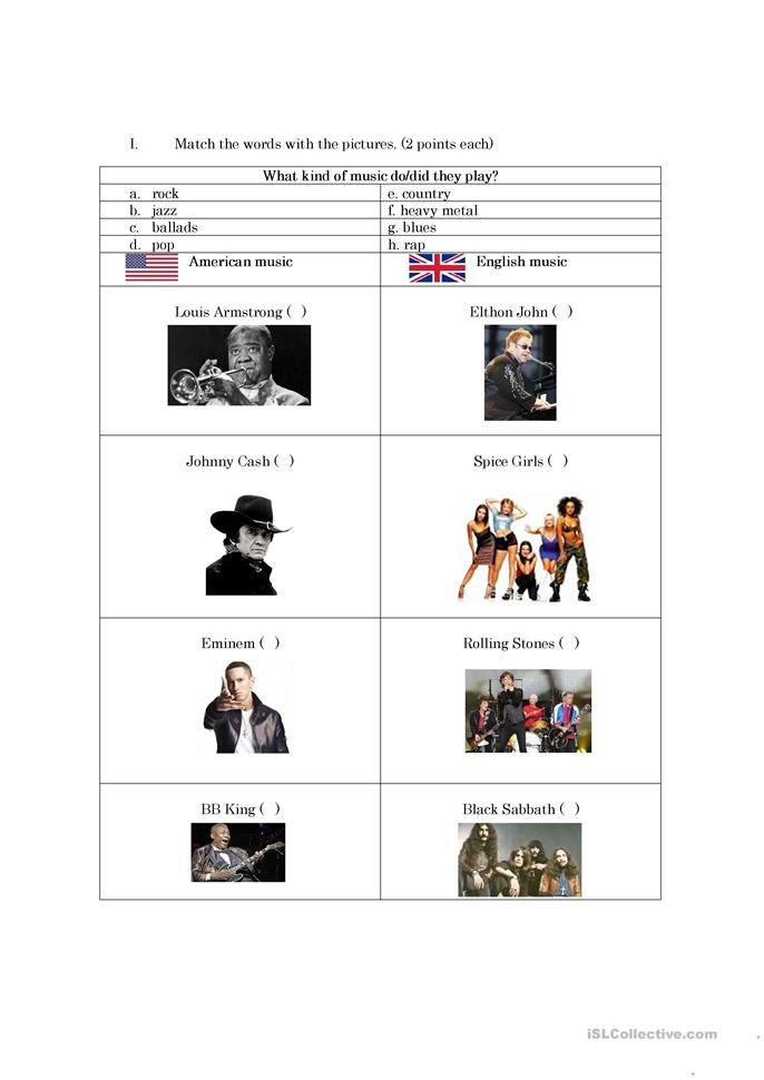 Music - ESL worksheets