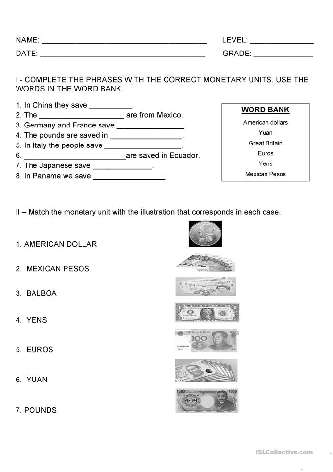 some monetary units test worksheet free esl printable worksheets made by teachers. Black Bedroom Furniture Sets. Home Design Ideas