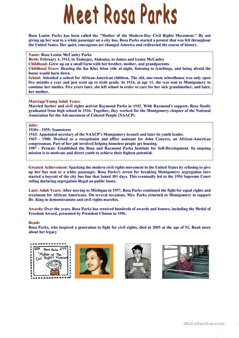 Worksheets Rosa Parks Worksheets 5 free esl rosa parks worksheets