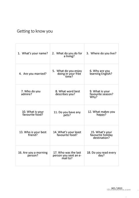 Speaking Questions Getting To Know You Worksheet Free Esl