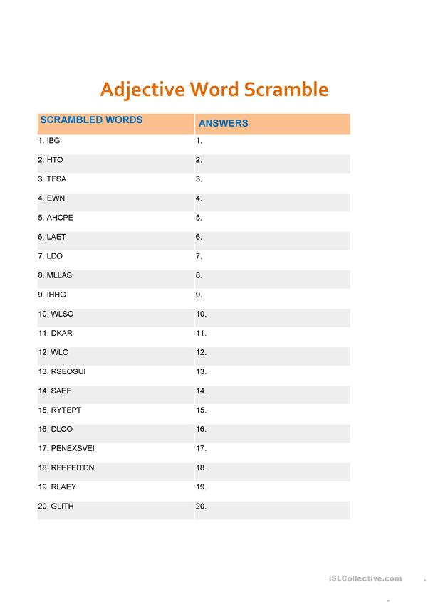 Adjectives scramble words
