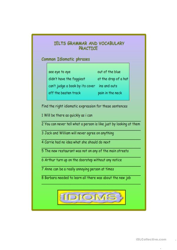 IELTS GRAMMAR AND VOCABULARY PRACTICE