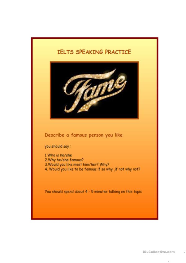 IELTS Speaking practice - being famous
