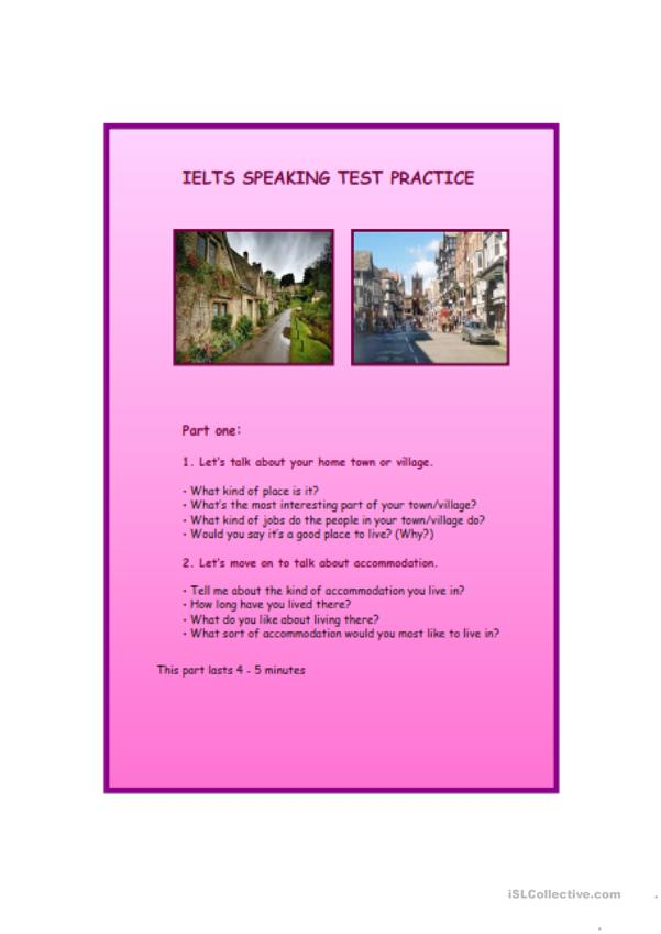 IELTS SPEAKING TEST EXAMPLE QUESTIONS AND POTENTIAL ANSWERS