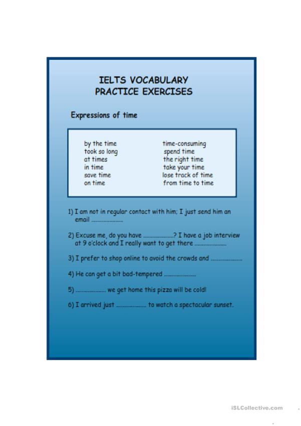 ielts vocabulary practice exercises with answers