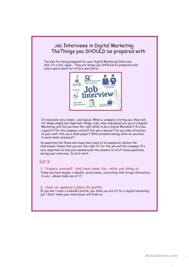 Interview tips for Digital Marketing roles