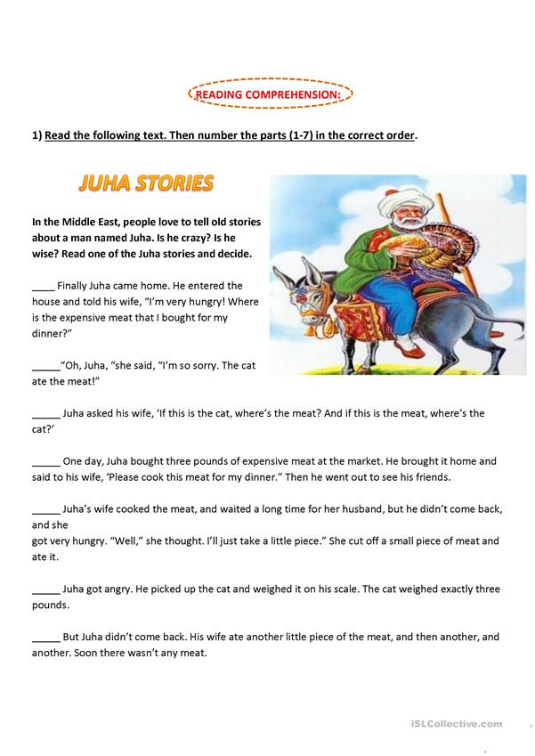 Reading Comprehension: Juha stories