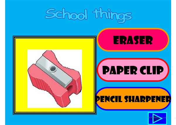 School things multiple choice activity