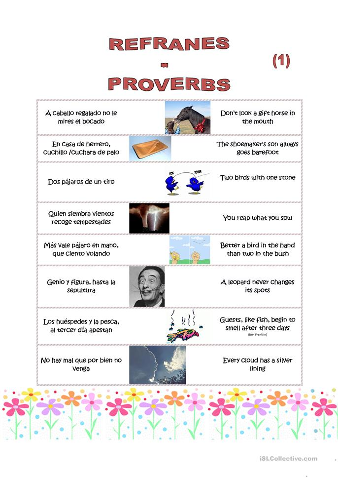 8 proverbs 1 and 2 spanish english worksheet free esl printable worksheets made by teachers. Black Bedroom Furniture Sets. Home Design Ideas