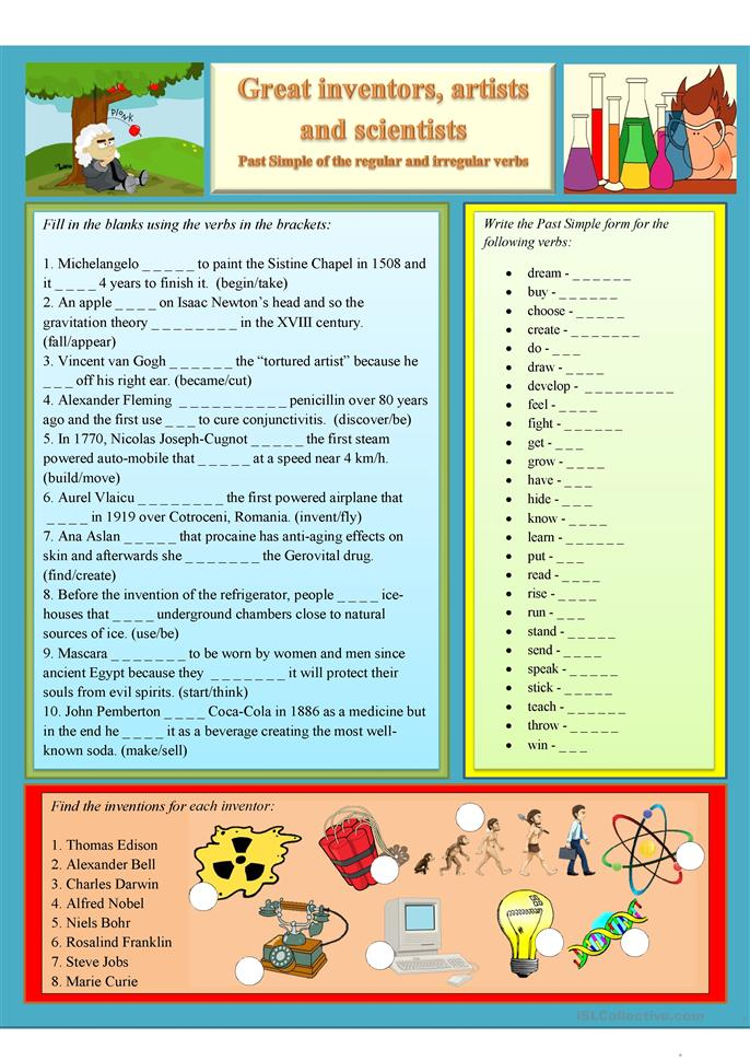 School Science Worksheets : Past simple great inventors artists and scientists