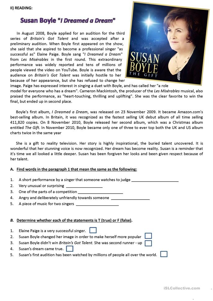 susan boyle i dreamed a dream worksheet free esl printable worksheets made by teachers. Black Bedroom Furniture Sets. Home Design Ideas