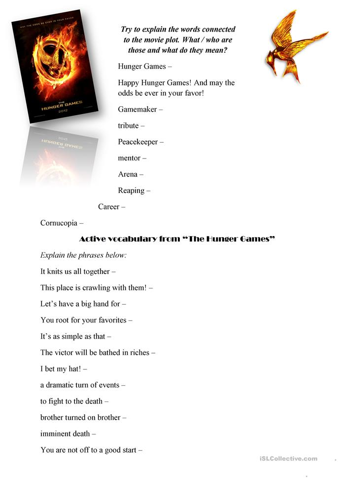 Worksheets Hunger Games Worksheets the hunger games movie worksheet free esl printable worksheets made by teachers