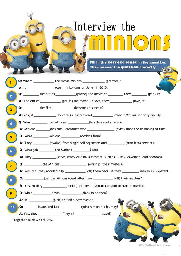 Interview The Minions With Key Worksheet Free Esl
