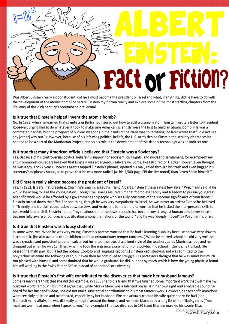 - Albert Einstein:Fact Or Fiction (Reading Comprehension) - English