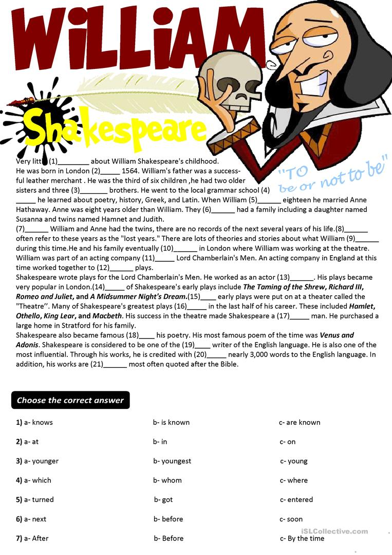 Worksheets Shakespeare Worksheets 31 free esl shakespeare worksheets cloze testwriting william shakespearekey is given