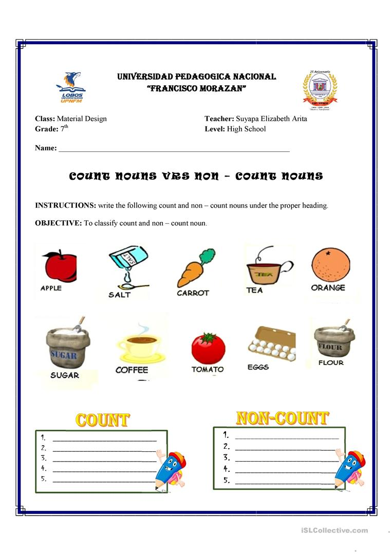 Count and non - Count Nouns - English ESL Worksheets