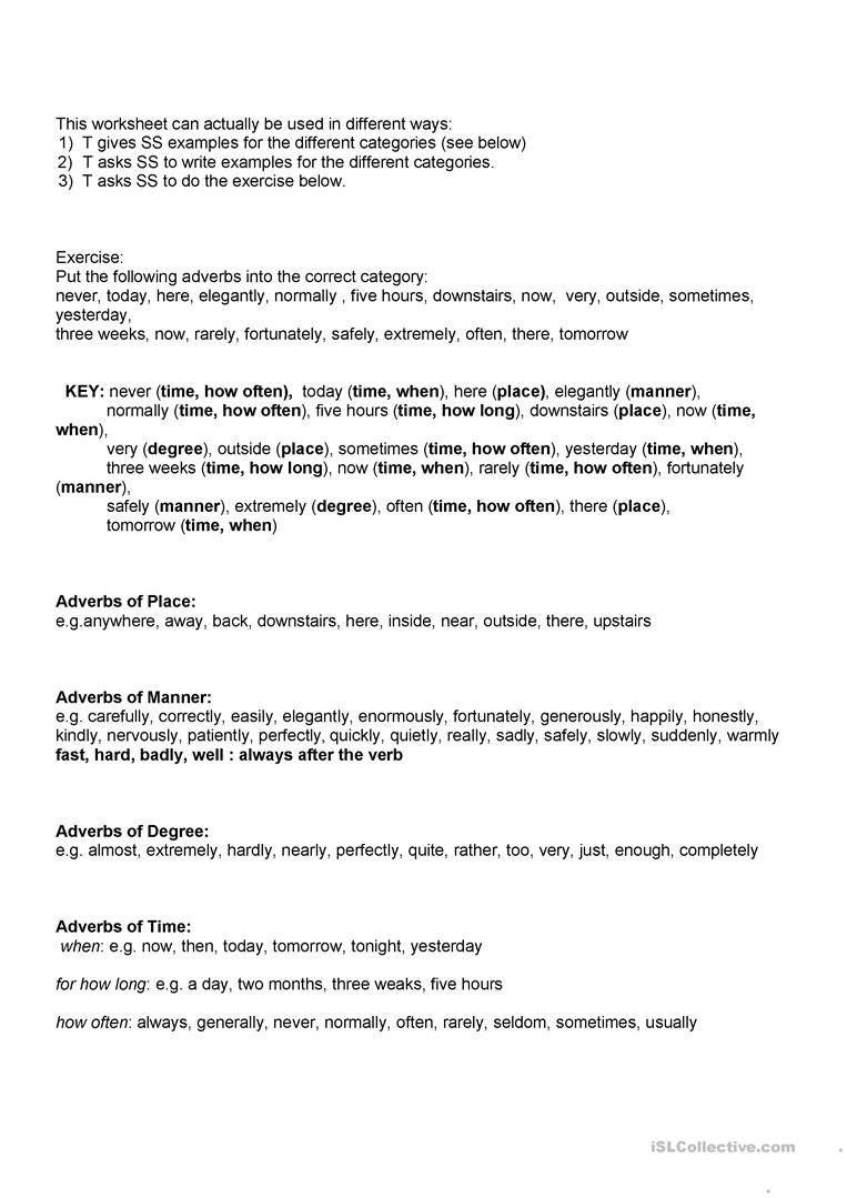 Different Types Of Adverbs And Their Postion Worksheet Free Esl