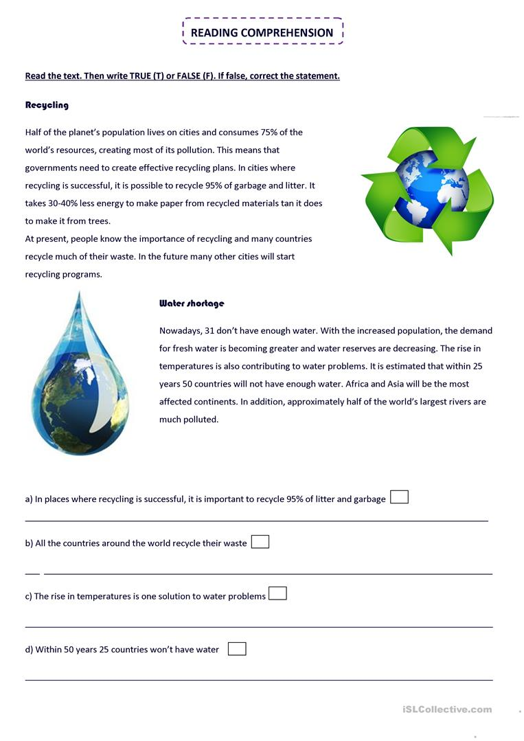 Worksheets Recycling For Kids Worksheets 25 free esl recycling worksheets water shortage readind comprehension and vocabulary ac esl