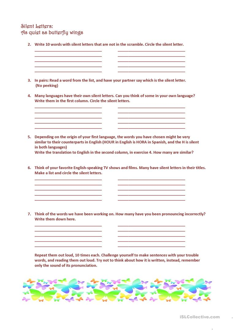 SILENT LETTERS with and without mnemonics worksheet Free ESL