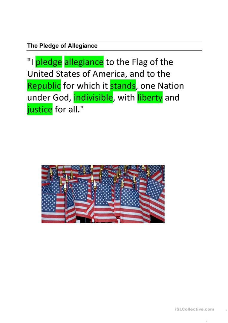 photograph relating to Pledge of Allegiance Words Printable referred to as The Pledge of Allegiance - English ESL Worksheets