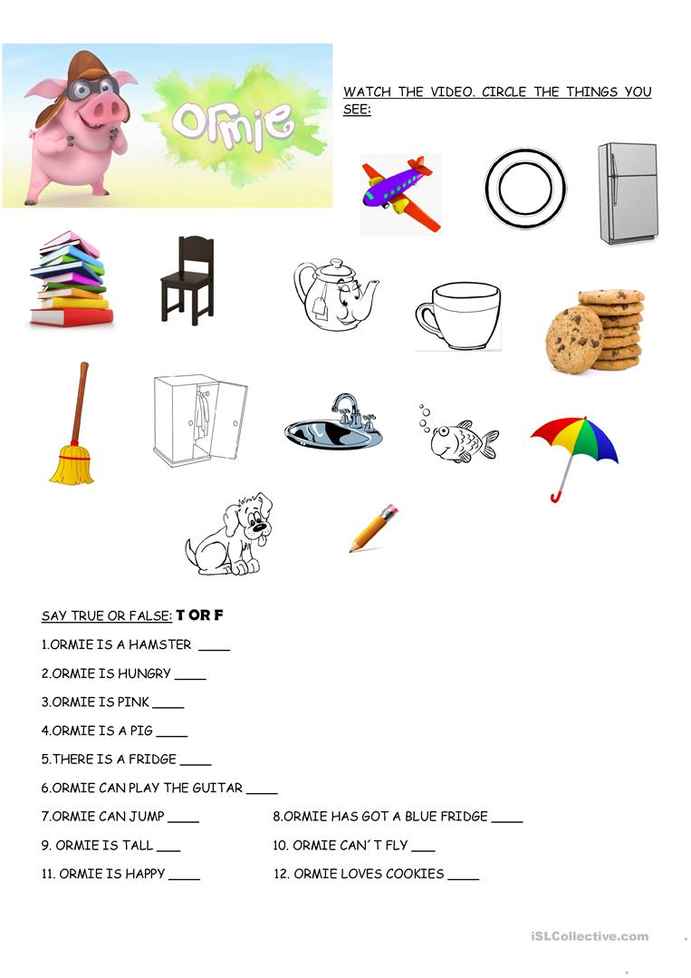 video ormie the pig worksheet free esl printable worksheets made by teachers. Black Bedroom Furniture Sets. Home Design Ideas